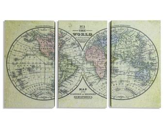 World Map, Hemispheres Map, Map World, World Hemispheres, World Map Hemispheres, World Map Triptych, World Hemispheres Map, Triptych Map