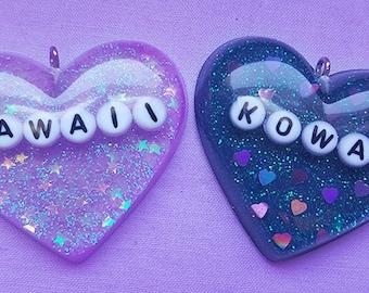 JAPANESE 'Kawaii' and 'Kowai' Heart Resin Jewelry, Resin Heart Charm Necklace, Resin Pendant
