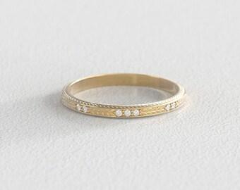 Wheat Engraved Wedding Band | Ethical Canadian Diamond Wedding Band |  14k Recycled Gold