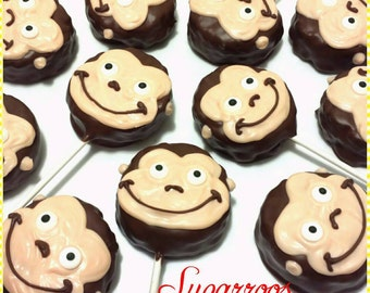 12 Monkey Rice Krispy Treat Pops Zoo Animals Birthday Party Candy Buffet Baby Shower