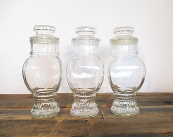SALE*** Three Tall Vintage Apothecary Jars. Use as Vintage Decor, Antique Kitchen Canisters, or as Candy Jars for a Wedding Candy Buffet.