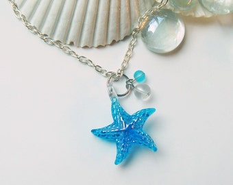Starfish Necklace - Ready to Ship - Beach Gift - Ocean Jewelry - Beach Jewelry - Starfish Charm - Star Fish Necklace - Ocean Charm - Blue