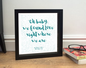 Framed Song Words Print | Song lyrics Poem speech vows | YOUR CHOICE of words | + PERSONALISED message | Ideal 1st anniversary gift for her