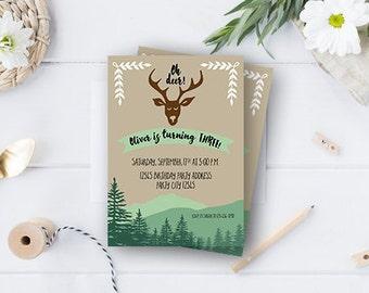 Deer Birthday Party Invitation - Printable Deer Invitation - Deer Party Invitation