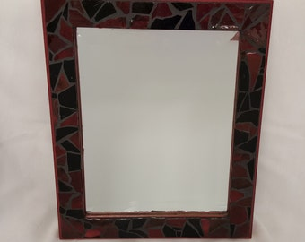 """Glass Wall Mirror - Mosaic Deep Reds and Black - 10"""" x 12 """""""