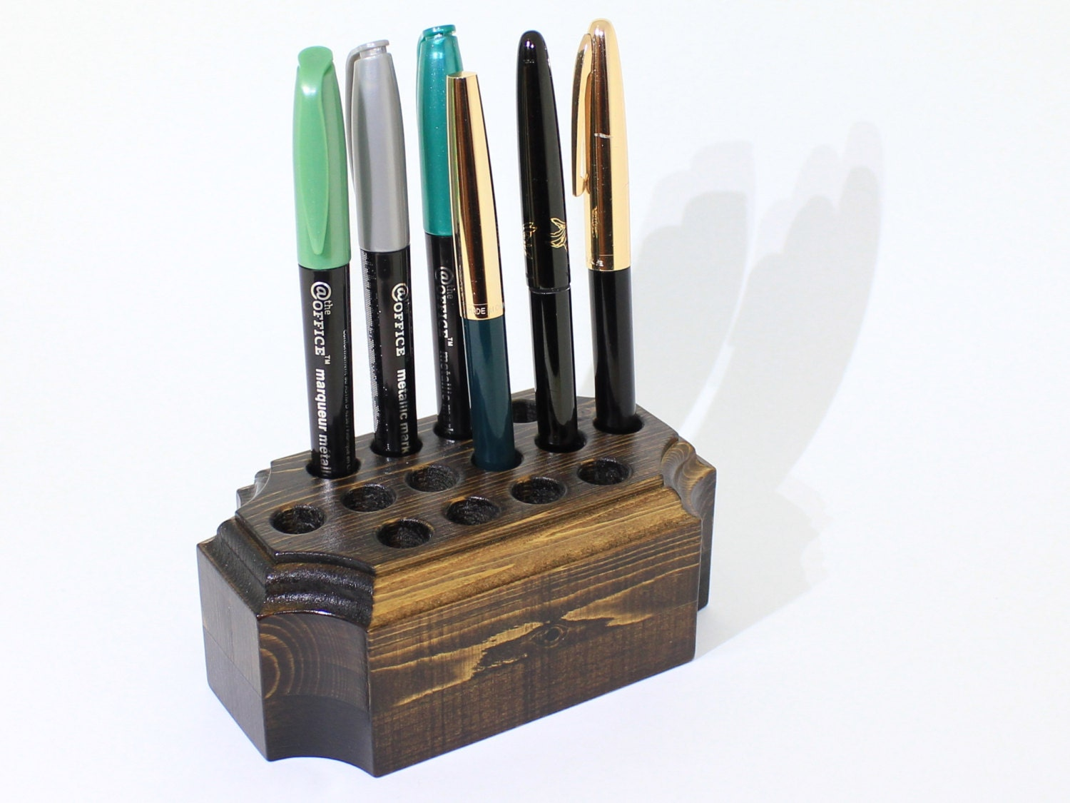 pen holder wooden desk caddy engraving tools organizer