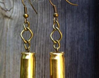 Red Chinese Crystal .380 Bullet Casing Earrings
