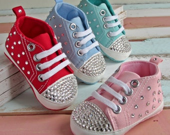 Converse Style Scattered Bling Baby Crib Shoes Christening   Baby Shower   First Birthday   Gift