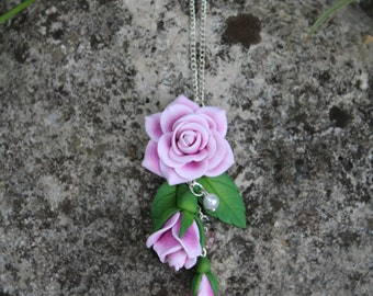 Roses pendant, pink necklaces floral jewelry, fimo jewelry, creative flowers pendant