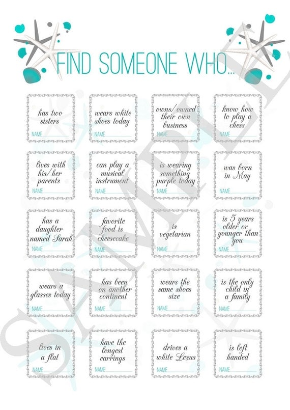 Wedding game ''find someone who..'' wedding