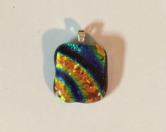 "Dichroic ""Treasured Light"" fused glass & 925 sterling silver pendant on cotton necklace or silver chain"
