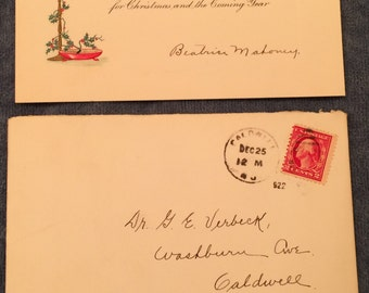Antique 1922 Christmas Card with Envelope and 2 Cent George Washington Stamp Caldwell NJ