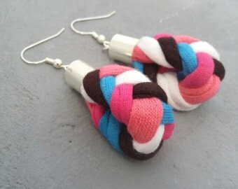 Jersey Braid drop earrings, Braided earrings, Pink Coral Blue Brown and White earrings, Fabric earrings, Gifts for her