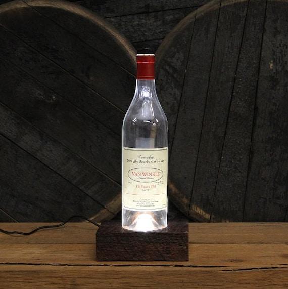 Pappy Van Winkle (12 Year) Bourbon Light / Reclaimed Wood Base LED Desk Lamp / Handmade Tabletop Lamp / Upcycled Bourbon Bottle Lighting