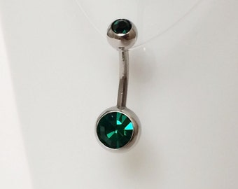 Dark Green Double Crystal Navel Piercing 14 Gauge(BPC-11)Belly Ring,Body Jewelry, 316L Surgical Steel, Cubic Zirconia, Silver Belly Piercing