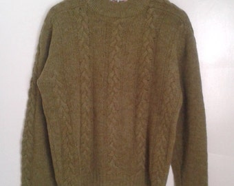 Vintage 1950's Keen Man Olive Green Wool Cableknit Sweater Pullover Sz Med Traditional Rustic