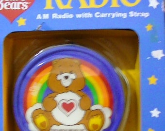 Rainbow Care Bear Rainbow Radio 1980's Gay Pride Care Bear Radio with carrying case new in original package 80s cartoons vintage care bears