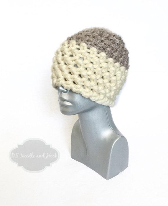 Cream and Brown Women's Beanie,  Chunky Taupe Crochet Hat, Beige Winter Hat, Two Tone Beanie, Chunky Ski Cap