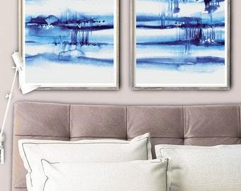 Far Away,  set of 2 prints, blue watercolor painting,  abstract blue art, modern painting, watercolor indigo artwork