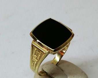 Mr ring gold 585 location stone Onyx Black GR180