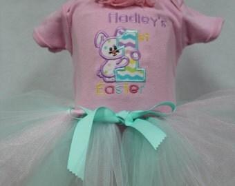 Girl Easter dress,Girls First Easter outfit,1st Easter outfit, Personalized Easter bodysuit, Easter tutu, Easter headband,Easter Bunny Dress