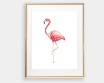 Flamingo Print, Tropical Art, Beach House Prints, Flamingo Wall Art, Tropical Wall Art, Palm Print