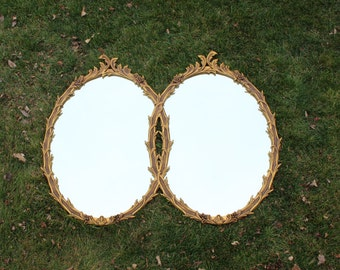 Vintage HOLLYWOOD REGENCY DOUBLE Mirror Gold