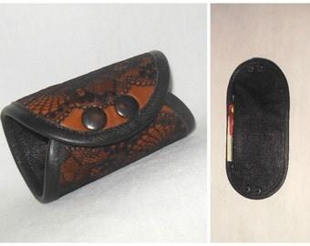 Leather Wrist wallet, Black Lace cuff wallet, Wrist wallet, wrist Purse, wrist pocket, secret band, Leather Wrist, Leather cuff, cuff money