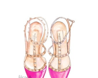 Pink Shoe Valentino Art Print Watercolor  Illustration