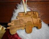 Wood Jeep Christmas tree ornament