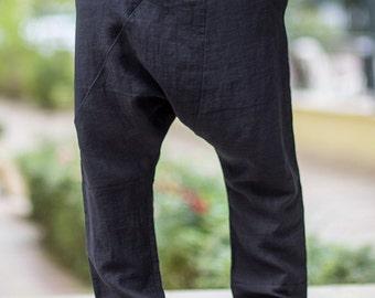 Low rise loose pants,Parachute pants,Yoga Pants,Balloon Pants, Designer Trousers,HAREM PANTS,Black Minimalist Pant,ConceptStyle,04C05-00010