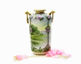 Antique Hand Painted NIppon Vase Pink Roses, Nippon Handled Vase, Made in Japan, Gold Moriage Landscape Vase Cottage Chic