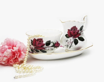Set of 3 Royal Albert Cream and Sugar Set, Creamer Cream Jug, Open Sugar Jar, Red Roses, Oval Tray, Replacement Piece, Tea Party Serving