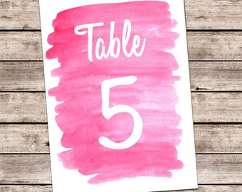 Watercolor pink table numbers Watercolor wedding table numbers Summer wedding printables 5x7 Personalized wedding cute Table card signs