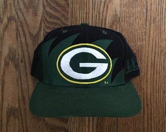 Vintage 90s Green Bay Packers NFL Football Sharktooth Snapback Hat Baseball Cap