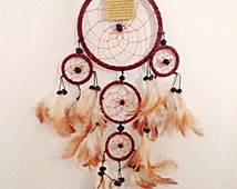 Dream Catcher Brown Suede Handmade Native American Indian White Brown feather and Black beads