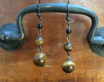 Tiger's Eye Tiered Earrings, tigers eye, crystal earrings, handmade earrings, gemstone earrings, bohemian
