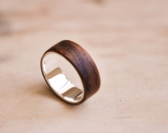 Sterling Silver with Santos Rosewood Bentwood Ring