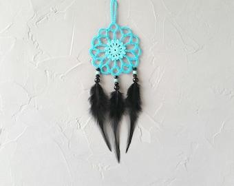 Mini turquoise black dream catcher car dreamcatcher crochet doily dream catchers black feathers boho dreamcatcher  wrap packing decor