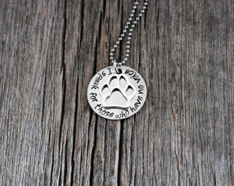 Hand stamped animal lover's necklace / I speak for those who have no voice / veterinary professional / vet tech/ veterinarian/ animal rescue