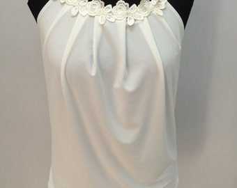 Sleeveless top,Women's top,Flowers top,Summer women's top,Women's sleeveless blouse, Elegant top, Lace Top,Loose fit women's top,Women tanks