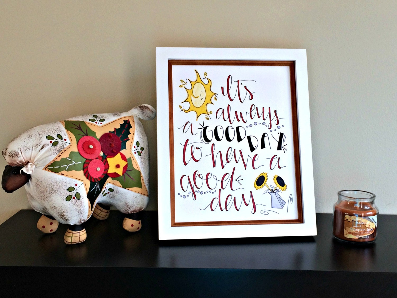 have a good day quote college dorm gift positive wall art. Black Bedroom Furniture Sets. Home Design Ideas