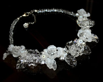 Handmade  lampwork necklace, white flower necklace, glass necklace, glass floral necklace, short necklace