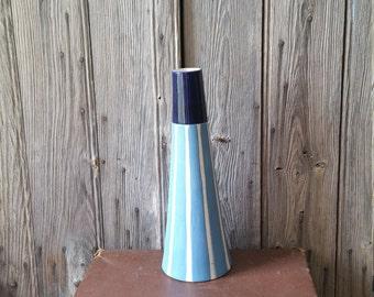 Retro Vietnamese Conical Blue and White Striped Lighthouse Vase  -  Nautical Vintage Vase