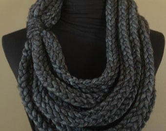 Hand-Knit Statement Scarf in Charcoal Gray