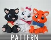Crochet PATTERN - Three little kittens by Krawka