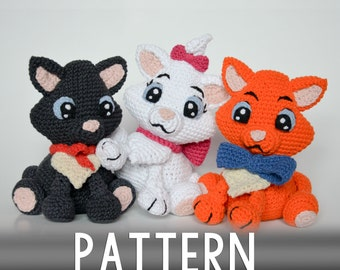 Crochet PATTERN - Three little kittens by Krawka
