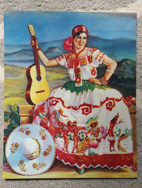 Mexican Calendar Girl Art : Items similar to vintage mexican calendar art by martin