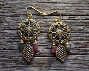Gold Gemstone Earrings / Watermelon Tourmaline Earrings
