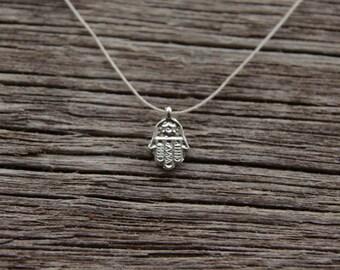 Silver Hamsa Hand Necklace / Minimalist Hamsa Hand Necklace / Silver  Hand of Fatima Necklace